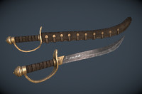 3d fantasy pirate scimitar model