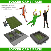 3d model soccer pack characters stadiums