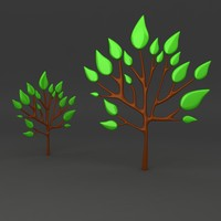 3d model of cartoon tree
