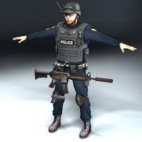 swat policeman 3d model