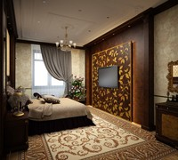 bedroom classic wall 3d 3ds