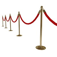 3d stanchion velvet rope model