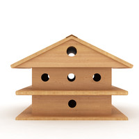 birds wooden house shelter 3d max