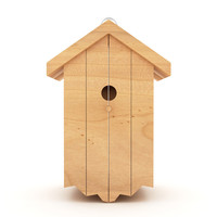 3d model birds wooden house shelter