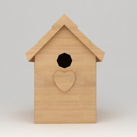 3d model of birds wooden house shelter