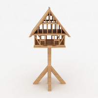 birds wooden house shelter 3d model