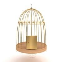 3d birds metal cage model