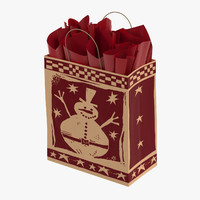 3ds max christmas bag red paper