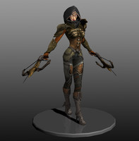 diablo demon hunter character 3d model