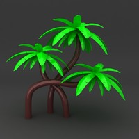 3d cartoon tree coconut model