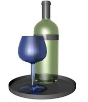 3ds max wine bottle glass tray