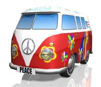 obj cartoon toy hippie-bus