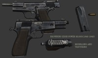 browning m1935 pistol 3d max