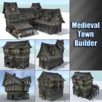 medieval town builder houses 3d model