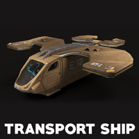 3d military transport ship model