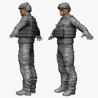 qualitative military male soldier 3d model