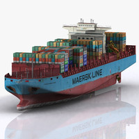 3d model ready container ship boat