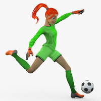 obj female soccer player kick