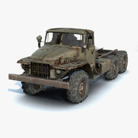 3d low-poly rusty heavy truck model
