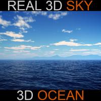 sky ocean scene 3d max