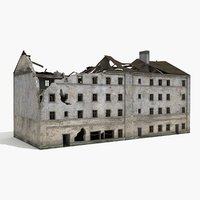 destroyed ruined building world war 3d obj