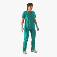 3d model female caucasian surgeon blood