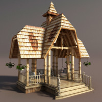 old wooden gazebo wood obj