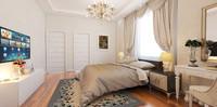 bedroom scene bed furniture 3d model