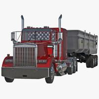 semi dump trailer truck 3d c4d