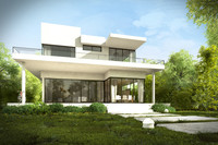 Modern House Exterior with Garden, trees, plants and Interiors