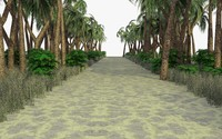 tropical path scene 3d model