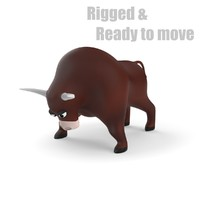 3d max cartoon bull rigged
