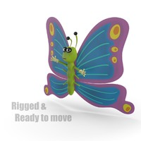 3ds max cartoon butterfly rigged