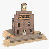 3d model of wild west town hall