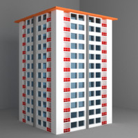 white residential building 3d dxf