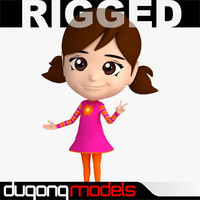 dugm06 rigged cartoon girl 3d max
