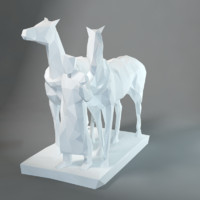 sculpture horse-drawn railway 3d max