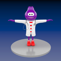 3d doctor blueberry mascot model