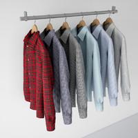 shirts hangers v-ray 3d model