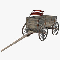 old wooden wagon 3d model