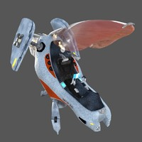 single-seater ship 3d model