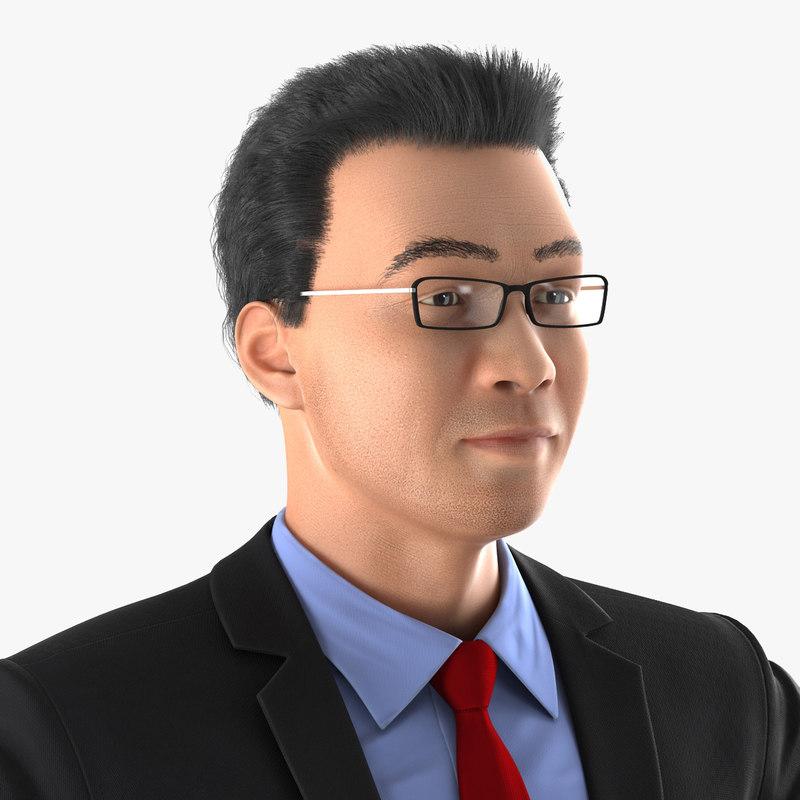 Asian Businessman Rigged 3d model 00.jpg