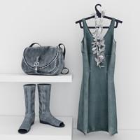 dress boots bag 3d model
