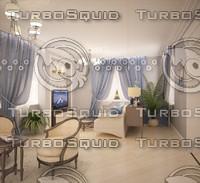 scene classic livingroom 3d max