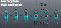 pack male female base 3d obj