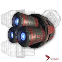 sci-fi red engine spaceship 3d 3ds
