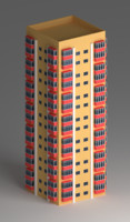 pink residential building 2 3d model