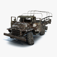 low-poly flatbed ural-375 burnt 3ds