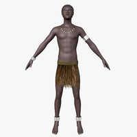 papuan hair character 3d model
