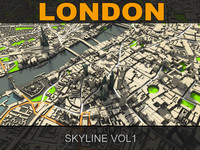 london skyline 3d obj